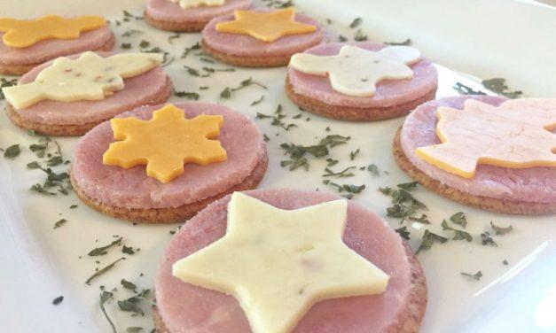 Festive Ham & Cheese Crackers